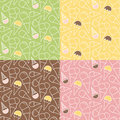 Set of four summer ice cream patterns on different backgrounds pistachio mint vanilla melon chocolate strawberry raspberry Royalty Free Stock Images