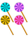 Set of four sweet lollipop yelow blue pink and violet yum yum Stock Photo