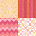 Set of four textile argyle seamless patterns vector abstract stripes background with hand drawn shapes Royalty Free Stock Photo
