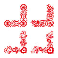 Set of four traditional folk ornaments, red embroidery