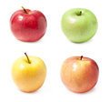 A set of four varieties of apples Stock Image