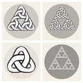 Set Of Four Vector Celtic Interweaving Line Triangle Knots Design Elements