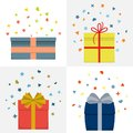 Set of four vector illustration with beautiful cardboards