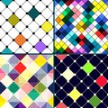 Set of four vector seamless pattern with rhombus retro colorful mosaic banner repeating geometric tiles colored geometric Royalty Free Stock Photos
