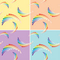 Set of four vector seamless patterns with rainbow