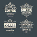Set of four vector  trendy coffee badges and labels Royalty Free Stock Photo