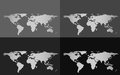 Set of four vector world maps isolated on a grayscale background Royalty Free Stock Photo