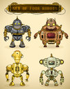 Set of four vintage robots Stock Photography