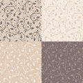 Set of four vintage seamless patterns with rose bu buds beige and brown colors Royalty Free Stock Image