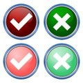 A set of four web buttons, green check mark and red cross in two variants Royalty Free Stock Photo