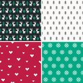 Set of four winter forest pixel patterns set 1