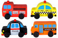 Set of four wooden toy cars isolated on white Royalty Free Stock Photo