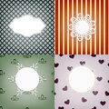 Set of fournapkins on retro seamless  patterns Stock Images