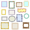 A set of fourteen frames made up of different elements element Royalty Free Stock Photo