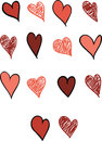 Set of Fourteen Hearts Royalty Free Stock Photography