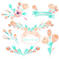 A set with the frame borders, floral decorative ornaments with the watercolor blooming pink Royalty Free Stock Photo