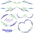 A set with the frame borders, floral decorative ornaments with the watercolor lavender flowers for a wedding or other decoration Royalty Free Stock Photo