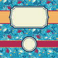 Set of frames with abstract painted flowers vector seamless pattern background hand drawn elements Royalty Free Stock Images