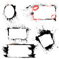 Set of frames black blots and ink splashes abstract elements for design in grunge style Royalty Free Stock Photography