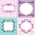 Set of frames and cute seamless backgrounds butterflies and hear Royalty Free Stock Photo