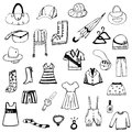 Set of free hand drawing clothes sketch vector eps on white background Royalty Free Stock Photos