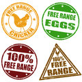 Set of free range stamps chicken and eggs rubber vector illustration Stock Photos
