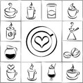 Set of freehand doodle sketch coffee icons black and white vector with steaming cups and mugs a pot and percolator takeaway Royalty Free Stock Photography