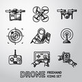 Set of freehand drone icons. Vector