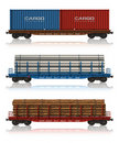 Set of freight railroad cars Royalty Free Stock Images