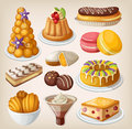 Set of french desserts traditional Royalty Free Stock Photos