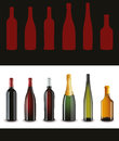 Set of french wine bottles Stock Photography