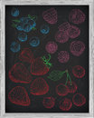 Set fresh berries strawberry cherry raspberry and blueberry. Chalk sketch Royalty Free Stock Photo