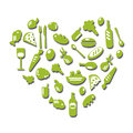 Set of fresh food in the shape of heart full healthy organic natural Stock Photo