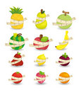 Set of fresh fruit and ruler health icon Royalty Free Stock Photo