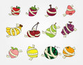 Set of fresh fruit and ruler health icon Stock Images