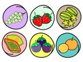 Set of Fresh Fruits on Round Background Royalty Free Stock Photos
