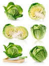 Set fresh green cabbage fruits isolated on white Royalty Free Stock Photo