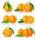 Set of fresh mandarine fruits with cut Royalty Free Stock Photo
