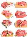 Set by fresh raw meat collection on white Stock Photos