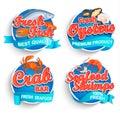 Set of fresh seafood logo.