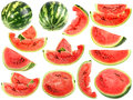 Set of fresh slices and full a ripe watermelons Stock Photos