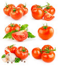 Set fresh tomato fruits with green leaves Stock Photo