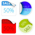 Set of fresh two colors sale labels Royalty Free Stock Photos