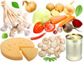 Set of fresh vegetables and other food Stock Image
