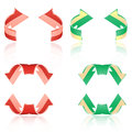 Set of frosted arrows red green eps Royalty Free Stock Images