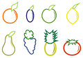 Set fruit eight kinds of different colors Stock Photo