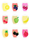 Set fruit fruit juice icons Royalty Free Stock Photography