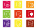 Set fruit fruit juice icons Stock Photography