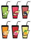 Set fruit fruit juice icons Royalty Free Stock Photos