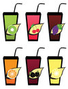 Set fruit fruit juice icons Stock Photo